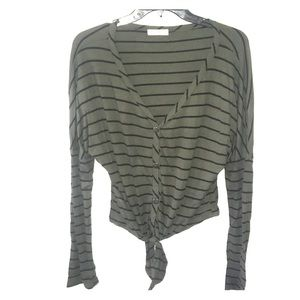 Army green and black stripped top with tie waist